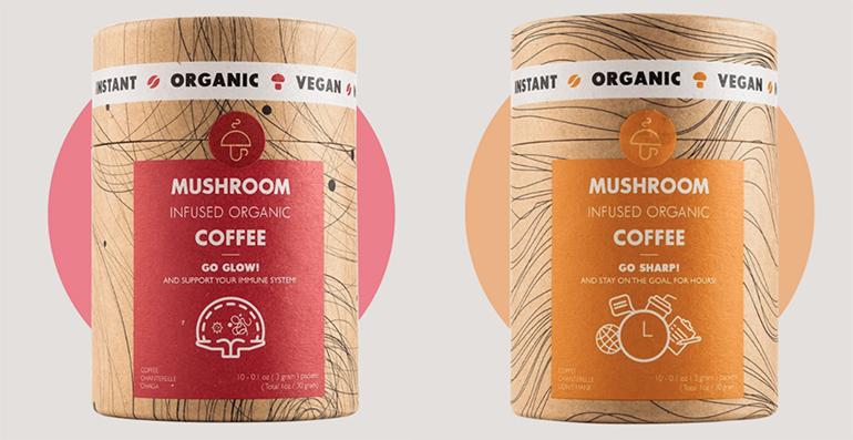 Café vegano orgánico con los beneficios de hongos medicinales